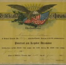 Image of Certificate, Achievement - certificate of award for regular attendance at school in 1926
