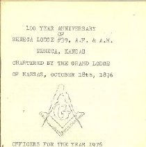 Image of Masonic 100th Anniv Program