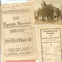 Image of Fonds - Program: Senior Play; 3 Act Comedy: A Merry Death,  starring Thomas E. Levick 51. Curley's coffee Shop card, Photo Old SHS in 1901, Annual SHS commencement Program 1884 at GAR Hall