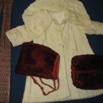Image of Child's Coat, muff, hat, scarf