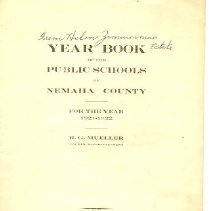 Image of Booklet - Year Book of the Public Schools of  Nemaha County, 1921-22