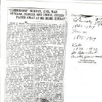 "Image of Newspaper - ""Commodore"" Murphy, civil war veterqan dues"