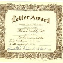 Image of Basketball Letter Award