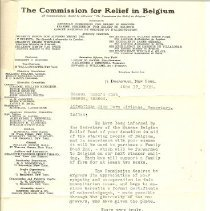 Image of Letter - Commission for relief in Belgium, 1915