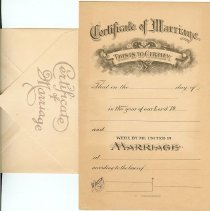Image of Certificate, Marriage - Certificates of Marriage & envelopes