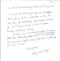 Image of Letter - Letter to NCHS From Harry C.M. Burger