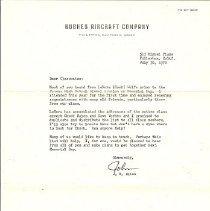 Image of Letter - Letter from Capt John Allen @ hughes Aviation