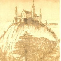 Image of German drawing-castle on hill
