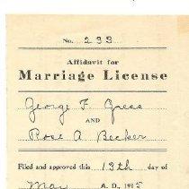 Image of 1915 Marriage Affadavit