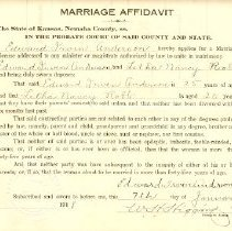 Image of Application, License - 1918 Marriage Affidavitts