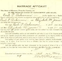 Image of 1919 Marriage Affidavits