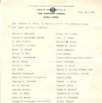 Image of Documents - Lists of the members of the American Legion Earle W. Taylor post