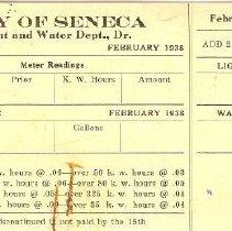 Image of City of Seneca billing card -