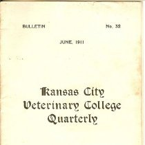 Image of Booklet - Kansas City Veterinary College  Quarterly