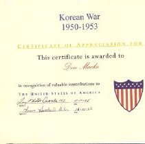 Image of Korean War Certificate