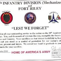 Image of 24th Infantry Div certificate