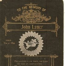 Image of Documents - Memorial Card to  John  Lauer
