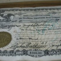 Image of Certificate, stock - Strathman Department Company stock Certificates