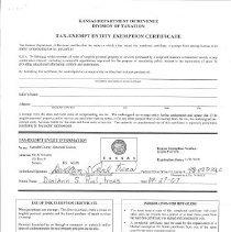 Image of Sales Tax Exemption Certificat