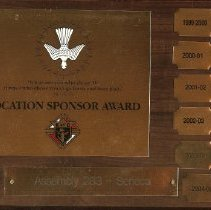 Image of Plaque - Vocation Sponsor Award for 1999 to 2005 to Knights of Columbus