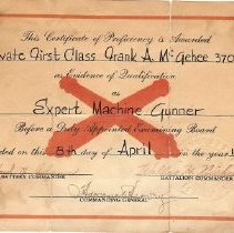 Image of Frank McGehee certificate