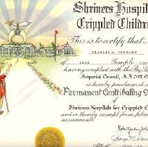 Image of Certificate, Registration - Shriners Hospitals Cripped Children