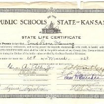 Image of Certificate, Registration - State of Kansas State Teacher's Certificate for Enid Fleming