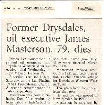 Image of Documents - Obituary of James Masterson