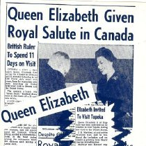 Image of Newspaper - Collection of news articles of The Queen's visit to America