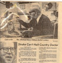 Image of Newspaper - Stroke Can't Halt Country Doctor