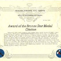 Image of Documents - Joe Huninghake Discharge and medal citations