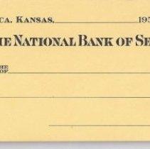Image of Check, Bank - The National Bank of Seneca