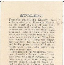 Image of Document - Wanted Posted issued by D.R. Vorhes, Sheriff