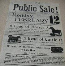 Image of Bill-of-sale - Public sale bill for Joseph Kramer 1912
