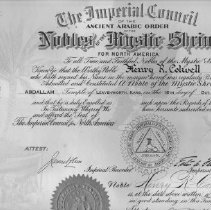 Image of Certificate, Membership - Certificate of Membership in the Nobles of the Mystic Shrine