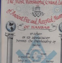 Image of Certificate, Achievement - Masonic Lode appreciation certificate to Edward Taylor
