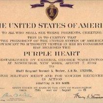 Image of Document - Purple Heart to Bernard Becker