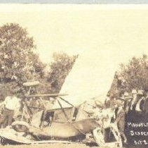 Image of Postcard - 1913 airplane crash at Seneca Airshow