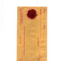 Image of Wax, Sealing - Seneca wax seal on Railroad cashier check