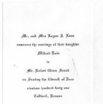 Image of Documents - Invitation to Robert Glenn Sourk and Mildred Louis Lane wedding