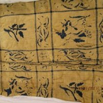 "Image of Blue and white coverlet, possibly fine wool, probably linen, white background with blue, uneven window pane pattern woven into it.  Woven in 2 peices, 32.5"" wide and seamed in center.