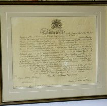Image of Framed Commission Scroll belonging to Edgar H. Redway dated April 20. 1904.