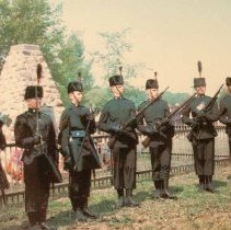 Image of Skirmishers and pioneers in front of Cairn, Ridgeway - 1966/06/04