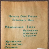 Image of Queen's Own Rifles Sergeants Mess Membership Lists, Honourary Associates, Ordinary Membership  - Book, Record