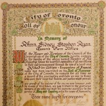 Image of Roll of Honour Certificate for Sidney Ryan  -