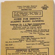 Image of Guide for Defence Against Radio Jamming, Supplement No 1 to Signal Communication in the Army Vol IV Pamphlet 14 -