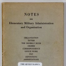 Image of Notes on Elementary Military Administration and Organization - 02204
