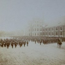 Image of Queen's Own Rifles formed up beside University Armouries 1895 - 1895/  /