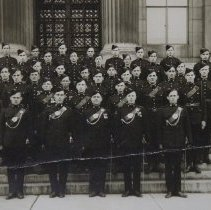 Image of Group of QOR Officers & other ranks standing on steps of Land Registry offi