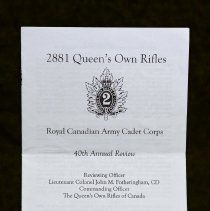 Image of 2881 Scarborough Rifles Royal Canadian Army Cadet Corp 40th Annual Review - 2011/05/29